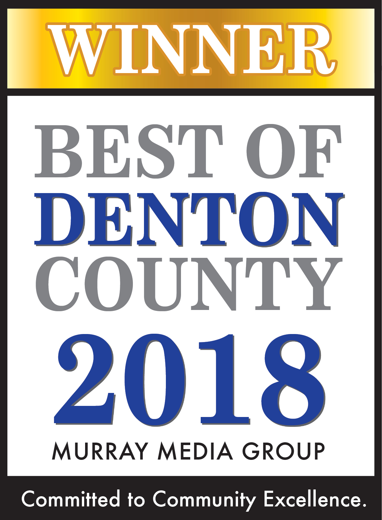 Winner of Best of Denton County 2018